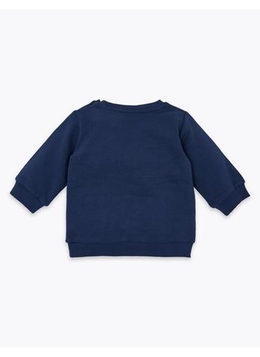 Marks & Spencer Pamuklu Slogan Sweatshirt Lacivert